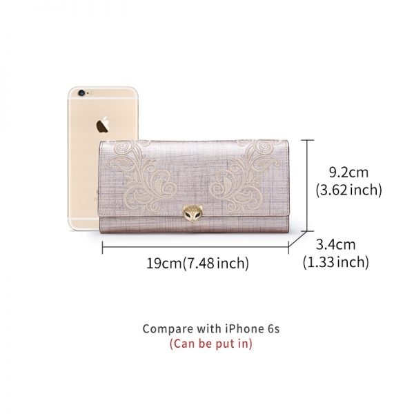 FOXER Women Fashion Leather Long Wallet Phone Bag Card Holder Luxury Coin Purse for Women Standard