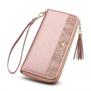 FOXER Women s Glitter Cowhide Leather Long Wallets with Wristle Luxury Female Purse Lady Clutch Cellphone
