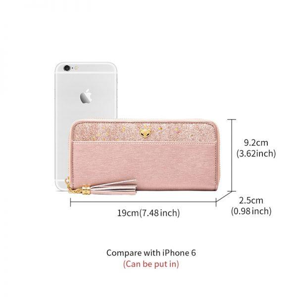 FOXER Women s Glitter Cowhide Leather Long Wallets with Wristle Luxury Female Purse Lady Clutch Cellphone