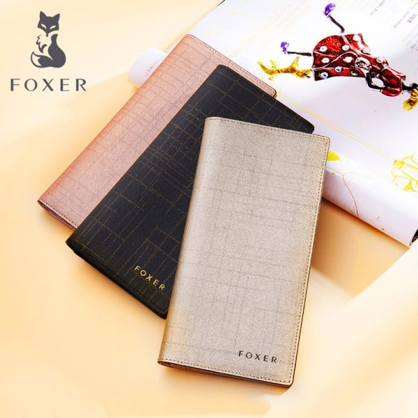FOXER Wrand Women Split Leather Wallet Purse Fashion Designer Female Long Cowhide Leather Wallets Clutch Bag