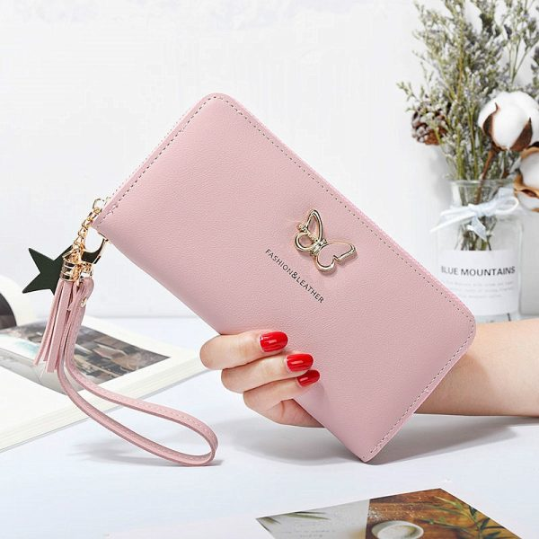 Fashion Butterfly Women Wallet Wrist Handle Phone Case Long Section Money Pocket Pouch Handbag Women s
