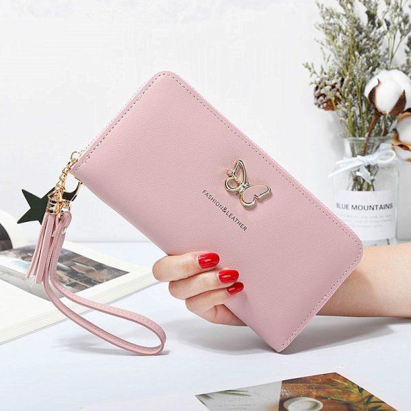 Fashion Butterfly Women Wallet Wrist Handle Phone Case Long Section Money Pocket Pouch Handbag Women s