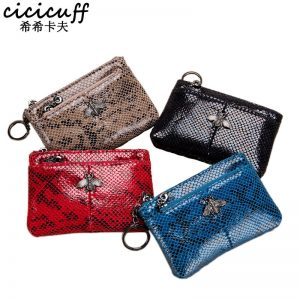 Fashion Coin Purse Ladies Real Leather Wallets Coin Pouch with Zipper Snake Pattern Women Genuine Leather