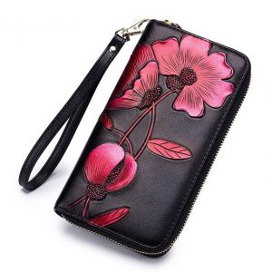 Fashion Flower Genuine Leather Women Wallet Female Long Walet Women Lady Clutch Money Bag Coin Purse