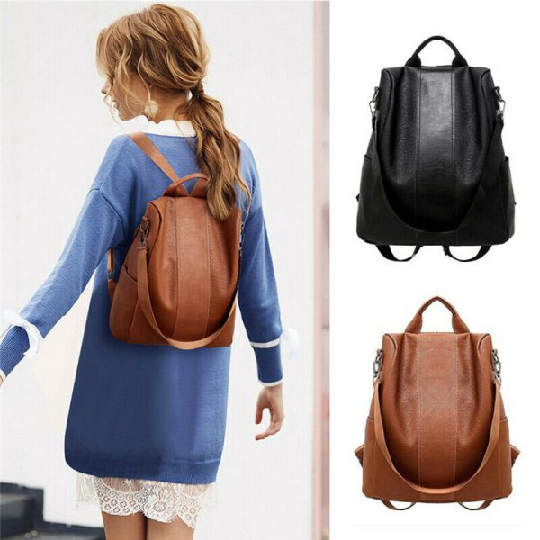 Female anti theft backpack classic PU leather solid color backpack canta fashion shoulder bag