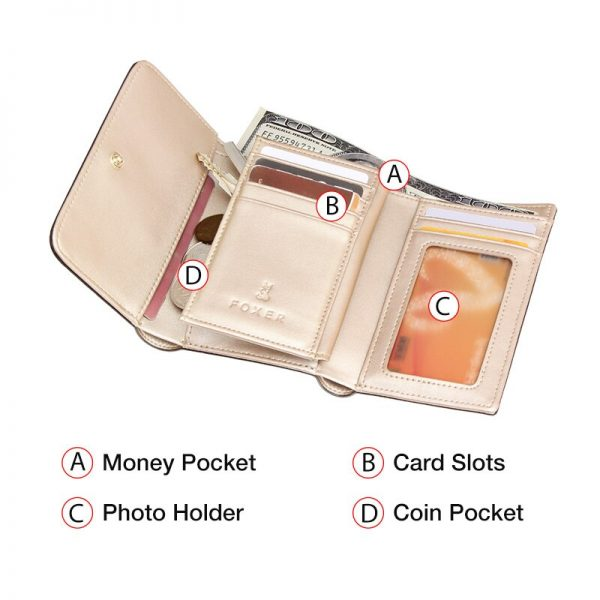 Foxer Female Luxury Money Purse Lady Card Holder Split Leather Lady Money Wallet Women Chic Small