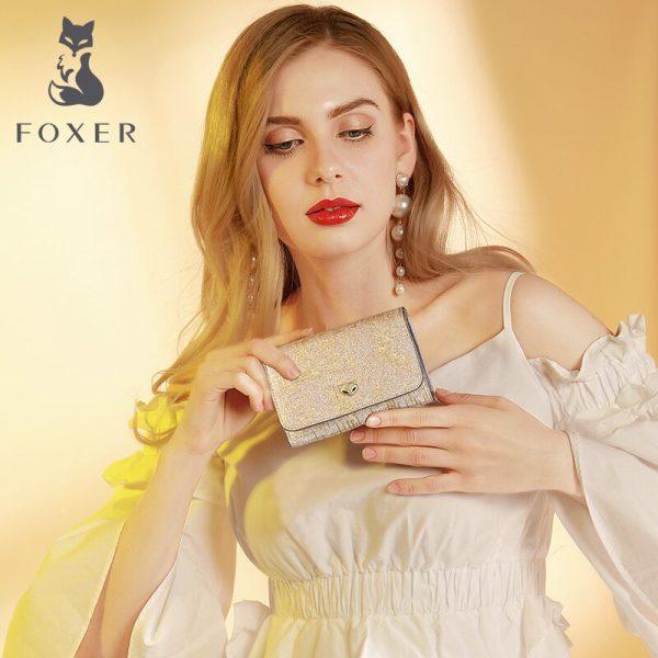 Foxer Lady Fashion Money Wallet Women Chic Small Coin Pocket Female Luxury Split Leather Money Purse