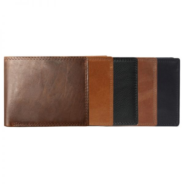 GENODERN Cow Leather Men Wallets with Coin Pocket Vintage Male Purse Function Brown Genuine Leather Men