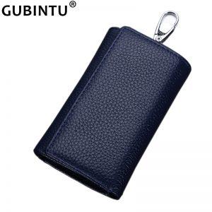 GUBINTU Multifunctional Genuine Leather Men Key Bag Wallet Keychain Three Fold Bag Men Key Holder Housekeeper