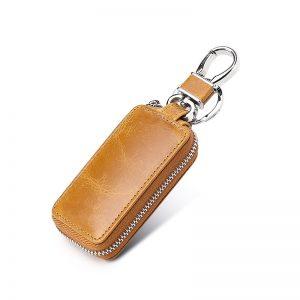 Genuine Leather Car Key Wallet Men Key Holder Housekeeper Keys Organizer Women Keychain Covers Zipper Key