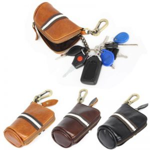 Genuine Leather Car Key Wallets Men Key Holder Housekeeper Keys Organizer Women Keychain Cover Zipper Key