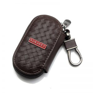 Genuine Leather Car Logo Keychain Hand Woven Key Bag Case Covers Wallet For PORSCHE PEUGEOT SKODA