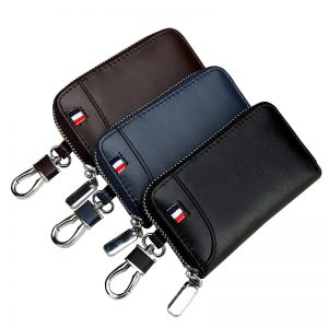 Genuine Leather Key Holder Men Key Wallets Car Keys Organizer Housekeeper Women Keychain Wallet Zipper Key