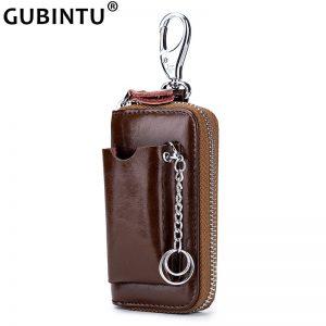 Genuine Leather Key Wallet Men Men s Cowhide Car Key Holder Pouch Bag Case Keys Organizer
