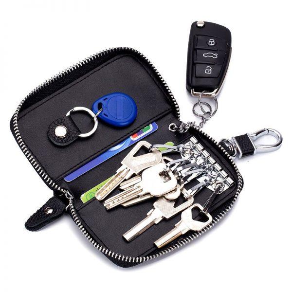 Genuine Leather KeyChain Men Women Key Case Multifunction Organizer Wallet Holder Smart Housekeeper Car Small Key