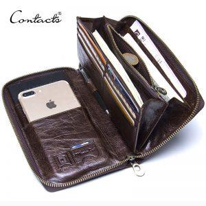Genuine Leather Men's Clutch Wallet | Men's Long Zipper Card Holder, Mobile Case