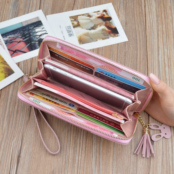 Geometric Women Wallets with Zipper Pink Phone Pocket Purse Card Holder Patchwork Women Long Wallet Lady