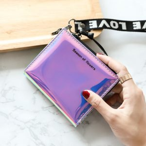 HUBOONE Fashion Women Leather Wallet Holographic Wallet Women Small Card Wallet Zipper Coin Purse Card Holder