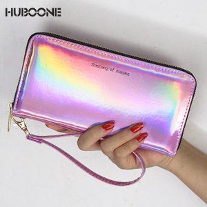 HUBOONE Laser Wallet Women Purse Card Holder Female Long Clutch  New Women Holographic Wallets Portfel