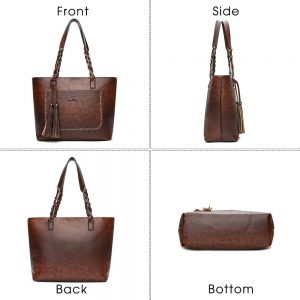Herald Fashion Large Capacity Causal Shoulder Bags for Women  Fall Leather Fringe Purse Handbags Retro