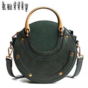 Hot Fashion Round Handbag Women Handbag Rivet Summer Lady Fashion Shoulder Messenger Bag Luxury Designer Leather