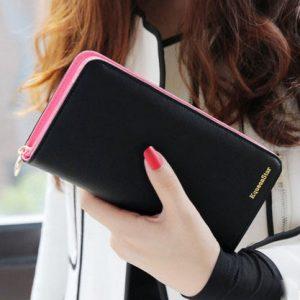 Hot sale fashion high capacity women wallets contrast color zipper clutch women s long design wallet