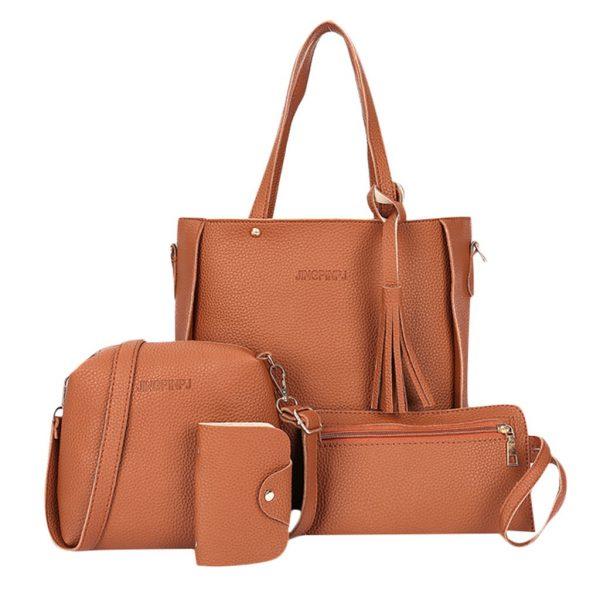 ISHOWTIENDA pcs Woman Bag Set Fashion Female Purse and Handbag Four Piece Shoulder Bag Tote Messenger