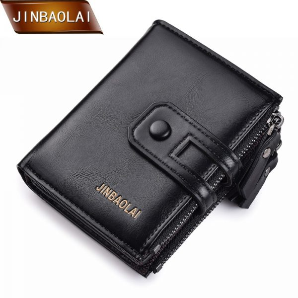 JINBAOLA Men Wallet Brand Wallet Double Zipper Hasp Design Small Wallet Male High Quality Short Card