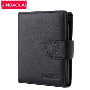 JINBAOLAI Men Wallets Genuine Leather Hasp Coin Pocket Purses Card Holder Vintage Short Brand High Quality