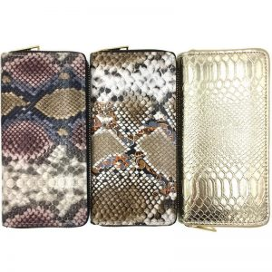 KANDRA Python Leather Long Wallet Women Snake Skin Print Ladies Wallets Zipper Phone Pouch Clutch Purse