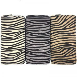 Kandra Personalized Women Wallet Long Clutch Zebra Print Fur Leather Pony Hair Purse Colorful Stripped Credit