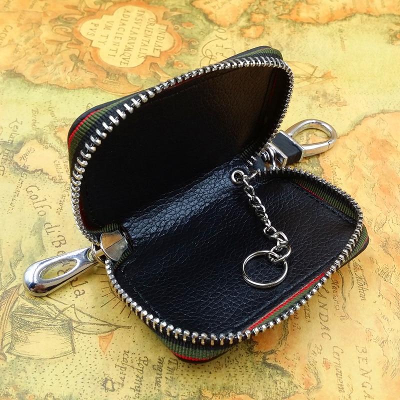 Stylish Genuine Leather Men Car Key Holder Organizer Keychain Zipper Bag Pouch