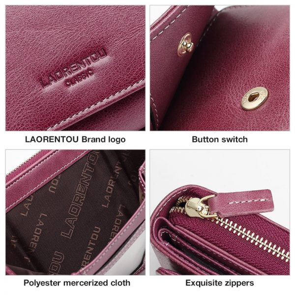 LAORENTOU Lady Large Capacity Money Bag Lady Small Wallet  New Cow Genuine Leather Female Casual