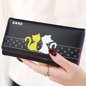 Lady Purses Cat Pattern Women Wallets Cards Holder Fold Clutch Envelope Money Bags Long Short Woman