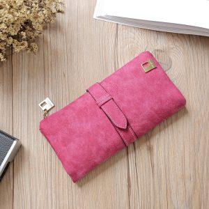 Leather Zipper Long Women Wallets Solid Drawstring Nubuck Luxury Brand Wallet Designer Purse Card Holder Clutch