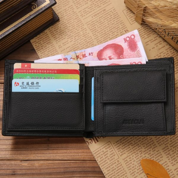Luxury  Genuine Leather Wallets Fashion Short Bifold Men Wallet Casual Soild Wallet Men With Coin