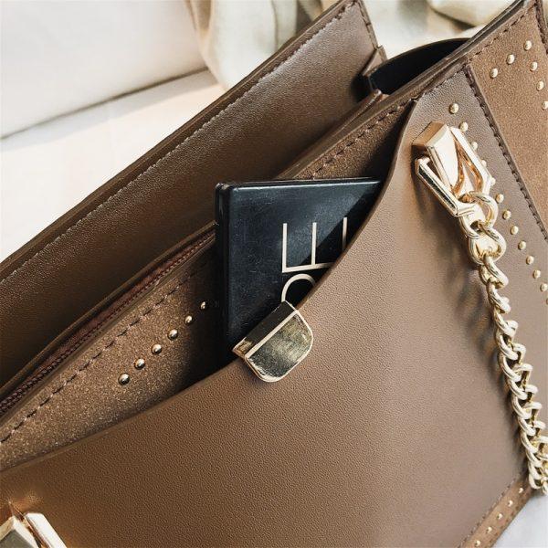 Luxury Rivet Handbag Women Bag Designer Brand Metal Chain Tote Bags Casual PU Leather Crossbody Bag