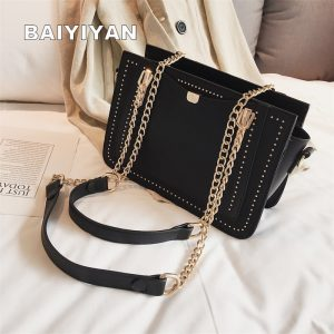 Luxury Rivet Handbag Women Bag Designer Brand Metal Chain Tote Bags Casual PU Leather Crossbody Bag