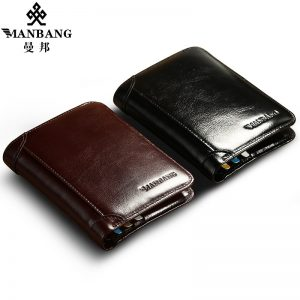 ManBang Classic Style Wallet Genuine Leather Men Wallets Short Male Purse Card Holder Wallet Men Fashion