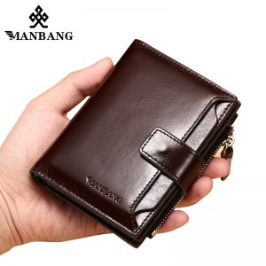 ManBang Genuine Leather Men Wallets Fashion Trifold Wallet Zip Coin Pocket Purse Cowhide Leather man wallet
