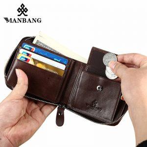 ManBang Genuine Leather Wallet Man Fashion Coin Pocket Small Vintage Men Wallet Male Short Card Holder