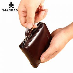 ManBang New Men s Wallet Genuine Leather Men s Zipper Male Short Coin Purse Pockets Fine