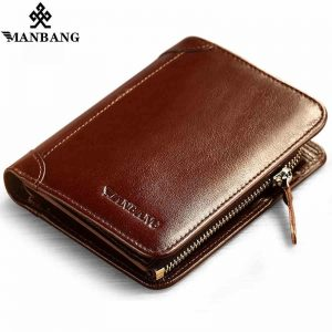 ManBang Time limited Short Solid Hot High Quality Genuine Leather Wallet Men Wallets Organizer Purse Billfold