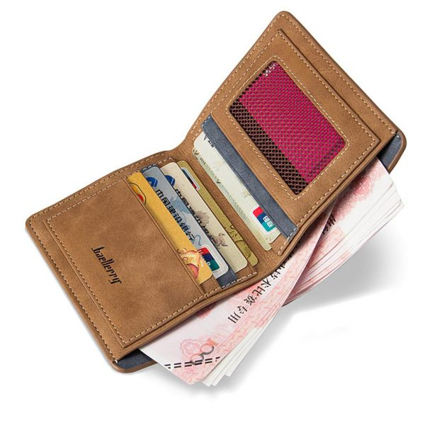 Men Wallets Retro Frosted PU Wallet Two Folding Male Purse Credit Card Holder Solid Color Short