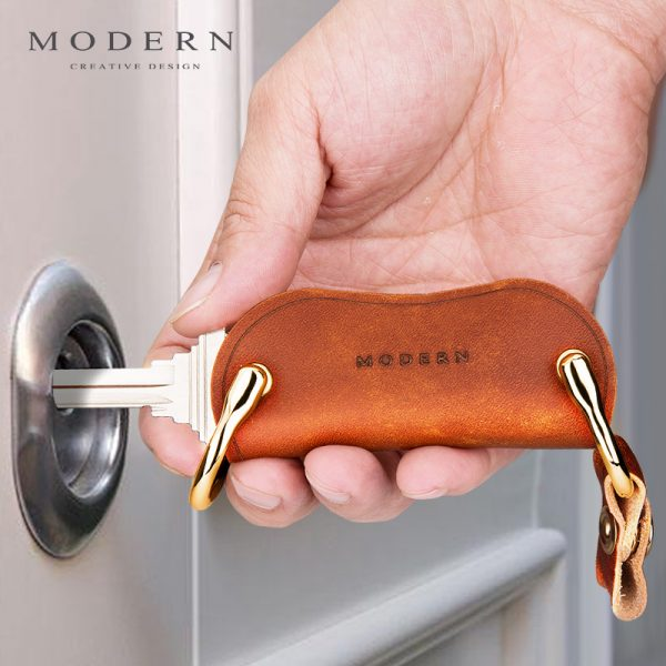 Modern Brand New Genuine Leather Smart Key Wallet DIY Keychain EDC Pocket Car Key Holder Key