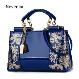 Nevenka Embroidery Women Bag Leather Purses and Handbags Luxury Shoulder Bags Female Bags for Women