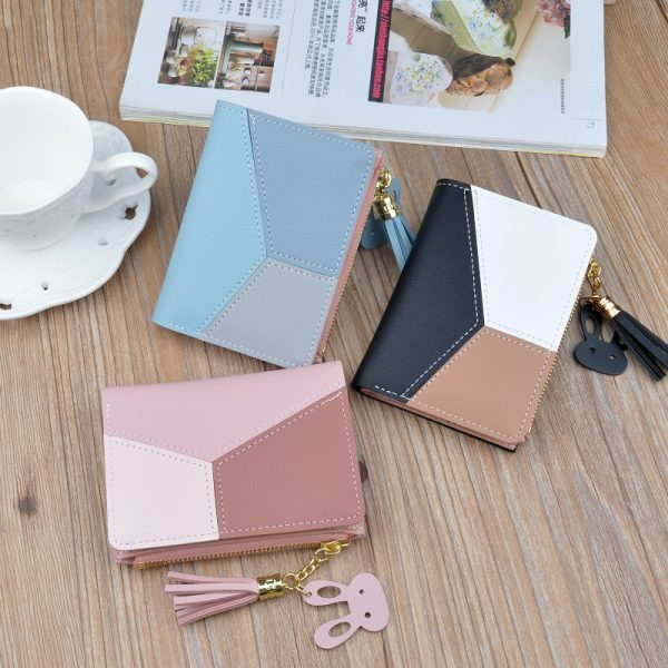 New Arrival Wallet Short Women Wallets Zipper Purse Patchwork Fashion Panelled Wallets Trendy Coin Purse Card