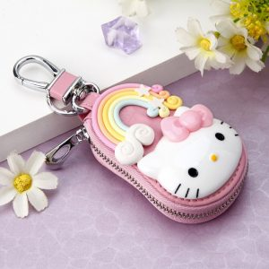 New Cute Hello Kitty Keychain Exquisite Coin Zipper Wallet Keychain Woman Girl Handbag Wallet Pendant Jewelry
