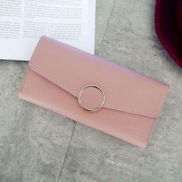 New Fashion Wallet Leather Women Wallet Long Pu Leather Purse Zipper Metal Circle Decor Wallets Female