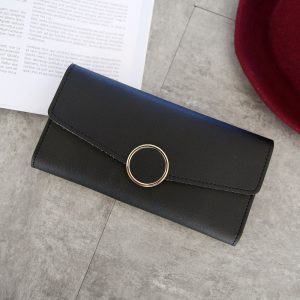 New Fashion Wallet Leather Women Wallet Long Pu Leather Purse Zipper Metal Circle Decor Wallets Female